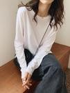 長袖 白色長袖T恤女寬鬆顯瘦圓領韓版純棉打底衫加絨春純色內搭上衣【快速出貨八折搶購】