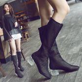 涼靴女夏黑色新款鏤空網靴水晶跟高筒靴