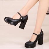 高跟女鞋黑色旗袍模特秀單鞋防水台粗跟女職業鞋工作鞋走秀鞋