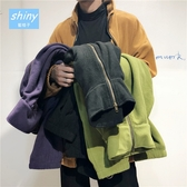 【Y221】shiny藍格子-簡約港風.百搭絨面加絨拉鏈情侶外套