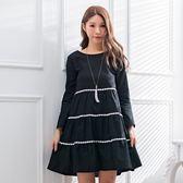 氣質洋裝--氣質甜美花朵蕾絲拼接A字寬鬆修身棉麻長袖連衣裙(黑.紅M-3L)-A382眼圈熊中大尺碼◎