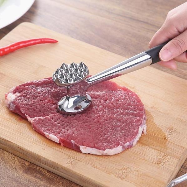 雙面鬆肉錘牛排錘子嫩肉針不銹鋼鋅合金砸拍打豬扒德國敲肉錘工具 1995生活雜貨
