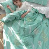 自然系精梳棉床包被套組-單人-綠葉清新