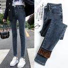 加絨牛仔褲 高腰加絨牛仔褲女冬季2019新款韓版修身顯瘦加厚保暖小腳鉛筆褲子 歐歐