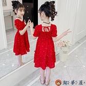 女童連身裙夏裝童裝洋氣女孩公主裙兒童夏季雪紡春秋裙子【淘夢屋】