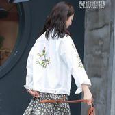 韓版寬鬆百搭刺繡牛仔外套女bf風學生原宿白色淺色短款 青山市集