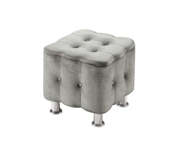 【森可家居】綺莉灰色方凳 7ZX347-9 絨布 沙發椅凳 水鑽