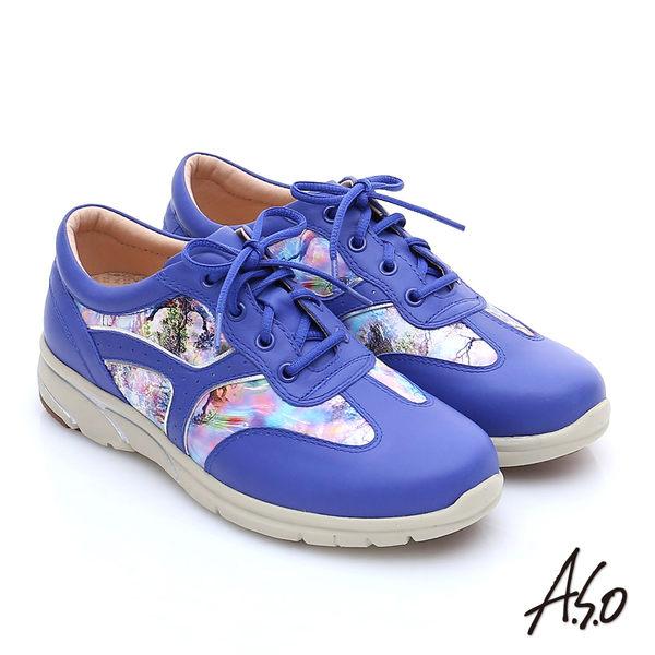 A.S.O 紓壓耐走 全牛皮拼接山水畫奈米休閒鞋  紫