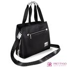 Versace 凡賽斯 黑色時尚手提肩背兩用包(38X14.5X28.5cm)【美麗購】