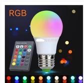 七彩球泡燈E27螺口變色E14遙控變色燈泡GU10射燈美顏補光 LED