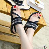 民族風串珠厚底平跟涼鞋女夏學生防滑軟底套趾流蘇度假休閒沙灘鞋 魔方