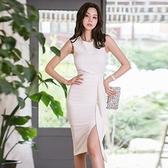 歐媛韓版 夏季新款氣質洋裝 女裝性感無袖皺褶收腰開叉包臀背心連身裙  店慶降價