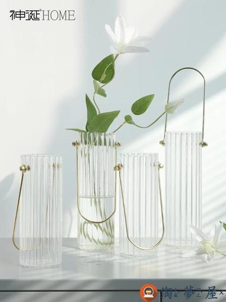 北歐簡約創意手提透明玻璃花瓶擺件插花器桌面裝飾【淘夢屋】