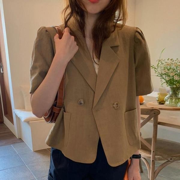 韓國CHIC夏季小眾復古翻領兩雙排扣寬松泡泡袖短款棉麻西裝外套女