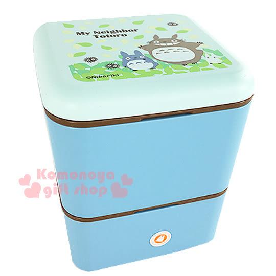 〔小禮堂〕宮崎駿 Totoro 龍貓 迷你雙層便當盒《方型.藍綠.樹葉》晴空系列4973307-33997