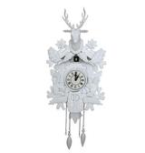 【衫衫來時】感光智能報時實木手工鐘錶布穀鳥靜音客廳掛鐘鹿頭咕咕鐘白色羅馬數字