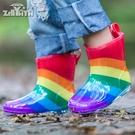 兒童雨鞋寶寶雨靴水晶卡通雨靴3D彩虹雨鞋...