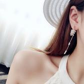 耳環水晶流蘇簡約時尚百搭正韓耳墜幾何個性長款耳釘學生耳飾 一次元