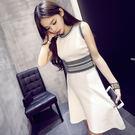 無袖洋裝春冬季新品女裝中長版針織背心裙修身無袖小香風連身裙