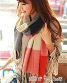 韓版韓國秋冬天女毛線針織格子圍巾百搭超長空調披肩兩用 潔思米
