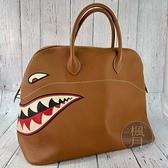 BRAND楓月 HERMES 愛馬仕 X刻 BOLIDE45 GOLD SHARK TOGO 全皮 手提包 旅行袋