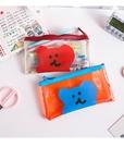 自製韓國可愛透明小熊軟糖筆袋ins風收納袋pvc學生簡約文具收納盒 88603