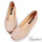 娃娃鞋 優雅方頭縫線皮革平底鞋-粉