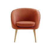 【JUSTBUY】納卡北歐原創單人圓弧型沙發椅橘紅色