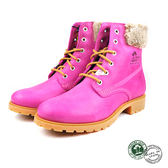 【Panama Jack】時尚真皮毛飾繫帶短靴/女靴  粉紅色(P6898W-PIN)