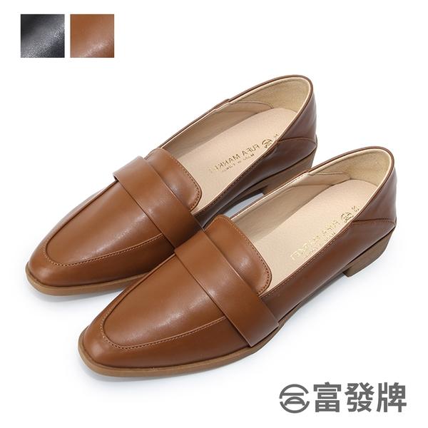 【富發牌】經典休閒微跟樂福鞋-黑/棕 1BE99