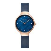 OBAKU 閃耀貝殼晶鑽時尚腕錶-玫瑰金X藍