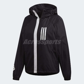 adidas 連帽外套 W.N.D. Fleece Lined 女款 防風 夾克 風衣 黑 白 黑白 【ACS】 DZ0034