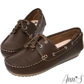 Ann'S機能可水洗牛皮休閒流蘇帆船鞋-棕