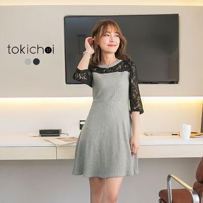 東京著衣-蕾絲拼接羅紋洋裝-S.M(170292)