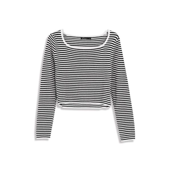 Queen Shop【01012363】配色條紋長袖針織上衣 三色售*現+預*