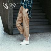 Queen Shop【04080104】素色休閒棉麻鬆緊腰哈倫褲 兩色售 S/M*預購*