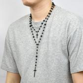 十字架項鍊 個性雙層黑七里香長鍊NBE16