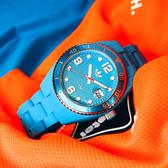 adidas 愛迪達 / ADH6163 / Brisbane 搖滾格紋 指針 運動 防水100米 玻麗矽膠手錶 水藍色 42mm