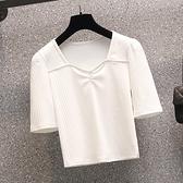 大碼衣著上衣T恤短袖針織L-4XL中大尺碼彈性方領小眾短袖T卹修身短款純色上衣R04.4357胖胖美依