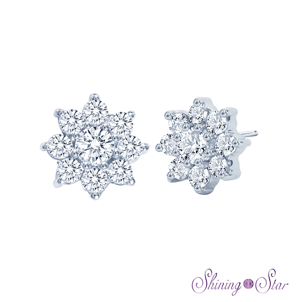 雪花頂級晶鑽白K金耳環 Shining Star K金 飾品 耳環(擁有八心八箭精細切工)