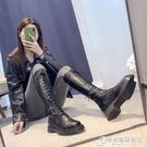 長筒靴女不過膝秋季新款秋款高筒瘦瘦騎士綁帶網紅長靴秋鞋冬 時尚芭莎