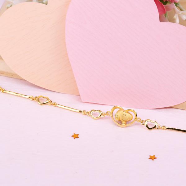 愛心史努比-黃金手鍊