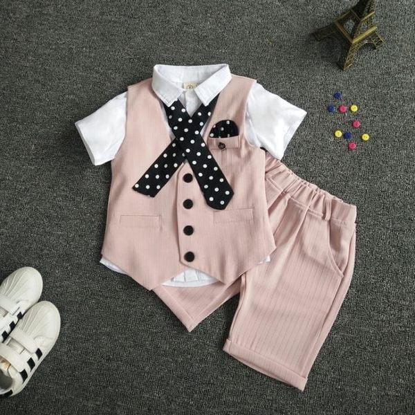 男童禮服花童禮服男童馬甲三件套男孩小西裝套裝寶寶短袖襯衫【店慶八折特惠一天】