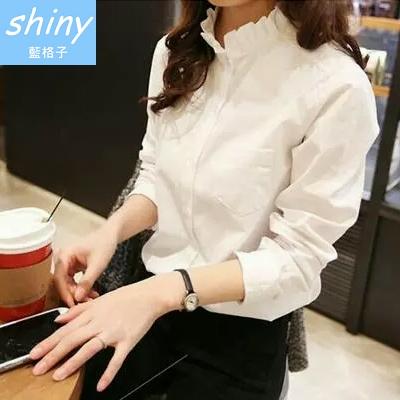 【V0209-1】shiny藍格子-瑕疵特賣.純色甜美花瓣領寬鬆長袖襯衫上衣