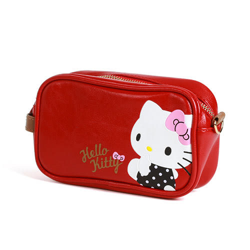 《Sanrio》HELLO KITTY可愛姿態壓印PU皮革化妝包_RD00510
