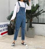 2018春季新款韓版百搭寬鬆可愛貓咪刺繡牛仔背帶褲女連體褲長褲   橙子精品