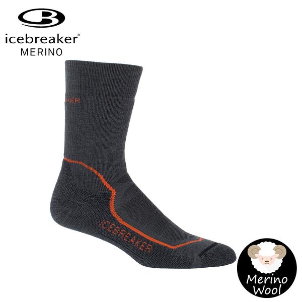 【Icebreaker 男 中筒中毛圈健行襪《季風黑》】IBND09/快乾機能襪/排汗襪/羊毛襪