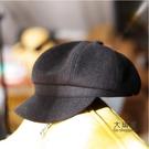 畫家帽 造型帽 黑色鴨舌貝雷帽女潮秋冬網紅款報童畫家八角帽子韓版英倫復古百搭