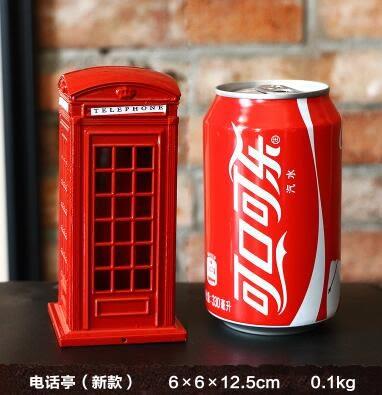 英倫復古鐵藝郵筒電話亭儲蓄罐歐式家居創意存錢罐道具模型擺件