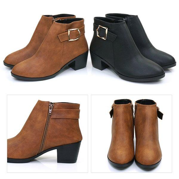 短靴.台灣製MIT.反扣金屬扣飾中跟短靴.黑/棕【鞋鞋俱樂部】【028-0591】